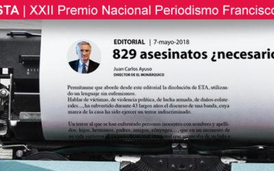"""Mi editorial """"829 asesinatos ¿necesarios?"""", semifinalista del Premio Nacional de Periodismo Francisco Valdés"""